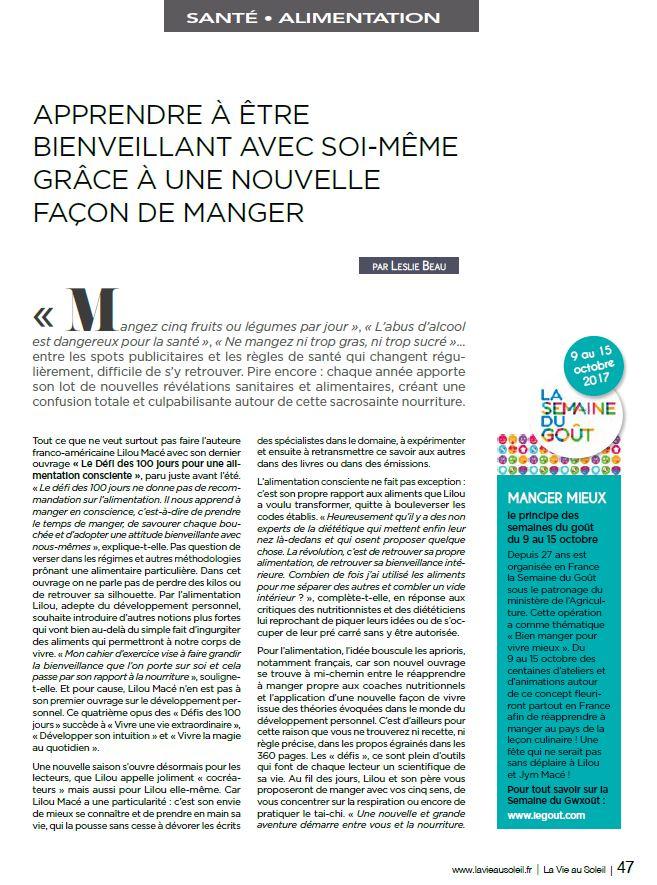 LA VIE AU SOLEIL : PARUTION AOÛT 2017 - MANGER CONSCIENT & LE DÉFI DES 100 JOURS SPÉCIAL ALIMENTATION