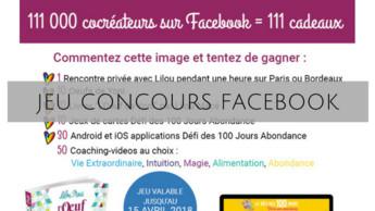 Facebook : 111 000 délicieux cocréateurs = 111 cadeaux !
