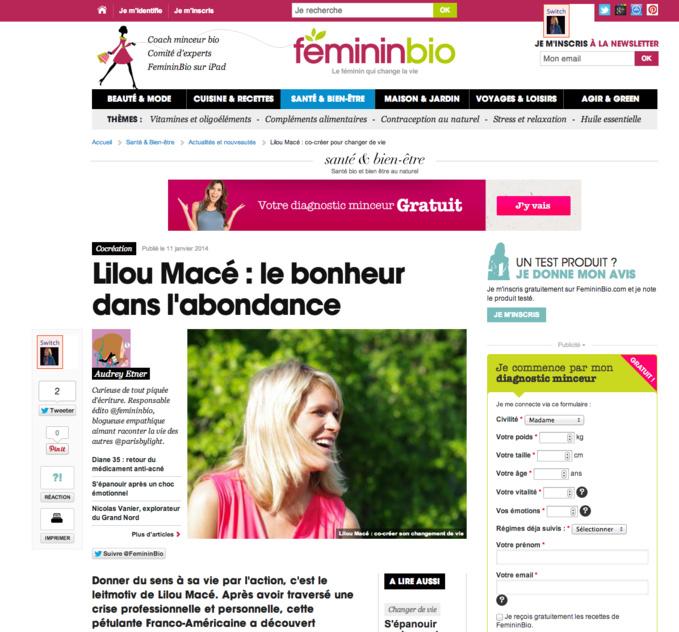 eMagazine FÉMININBIO - Lilou Macé : le bonheur dans l'abondance