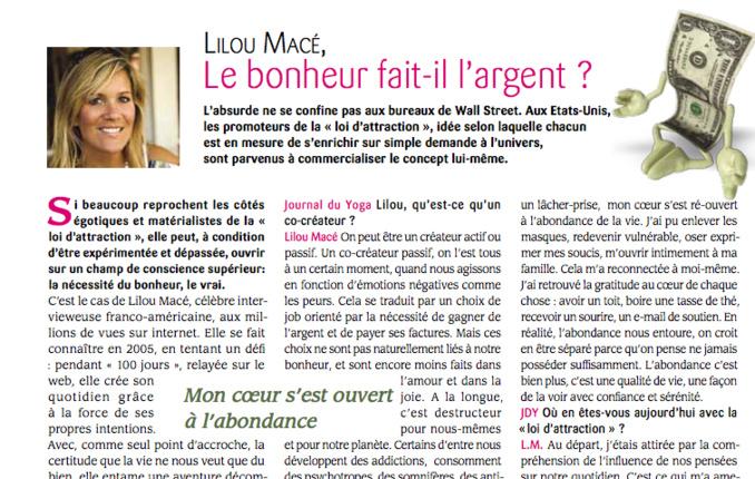 PDF - Le Bonheur fait il l'argent? Lilou interviewée dans Le Journal du Yoga n°150