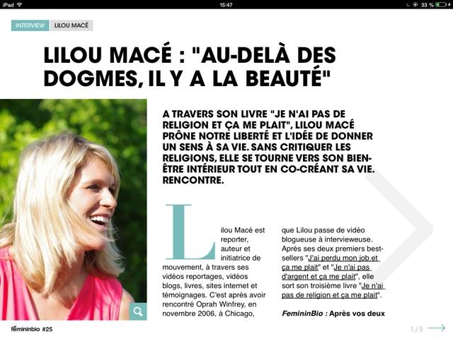 """Féminin BIO iPad Juillet-Aout (Gratuit) interview de Lilou """"AU-DELÀ DES DOGMES, IL Y A LA BEAUTÉ"""""""