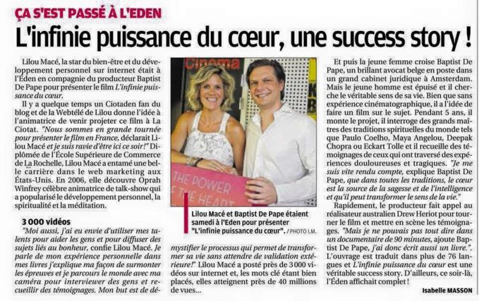 La Provence: L'infinie Puissance du  Coeur, une success story!