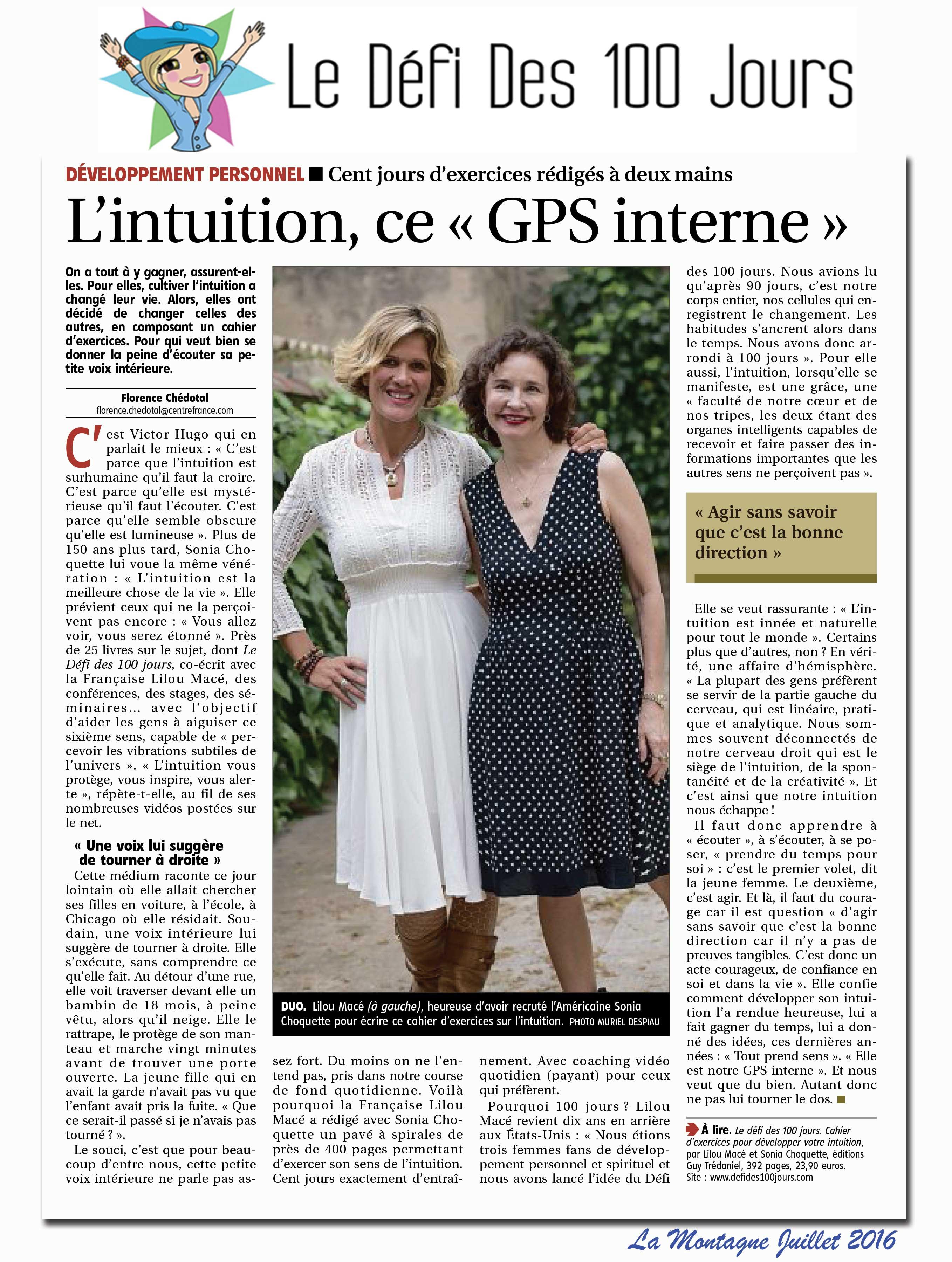 LA MONTAGNE - PARUTION JUILLET 2016 : L'INTUITION, CE GPS INTERNE !