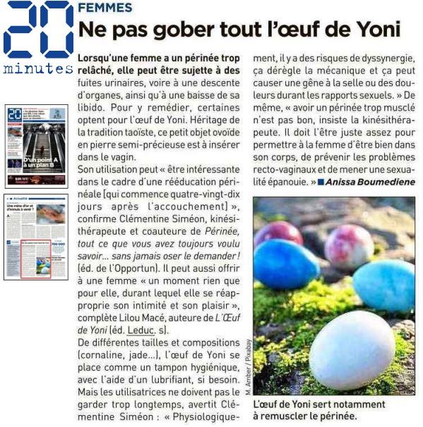 20 MINUTES FEMMES : L'oeuf de Yoni diffusé dans toute la France !
