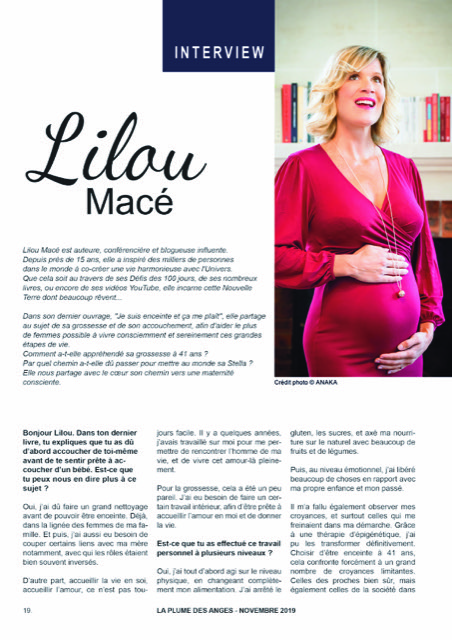 """LA PLUME DES ANGES : """"UNE MATERNITÉ CONSCIENTE"""" avec Lilou Macé"""