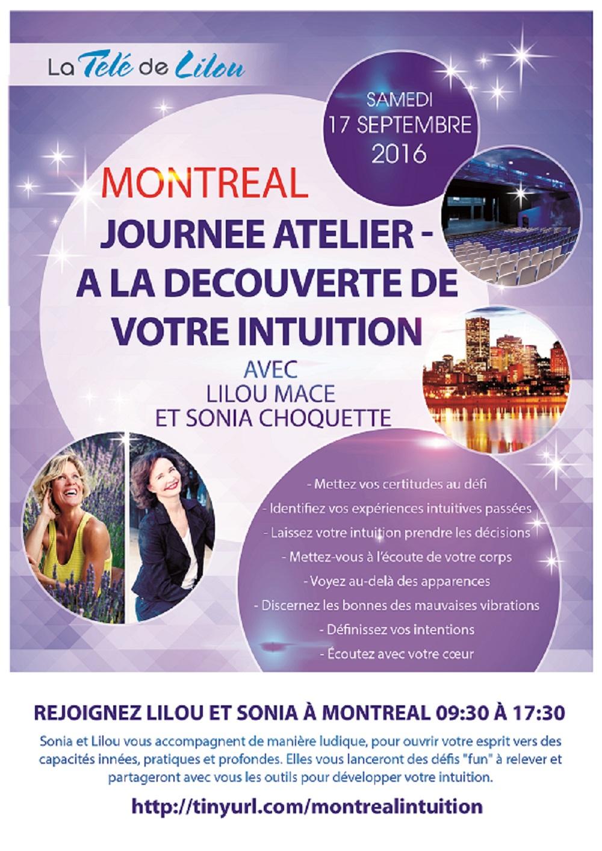 MONTREAL - 17 SEPTEMBRE 2016 - JOURNÉE ATELIER INTUITION AVEC LILOU MACÉ ET SONIA CHOQUETTE